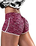 PASLTER Womens Sexy Yoga Shorts Sport Workout Ruched Lifting Running Hot Leggings