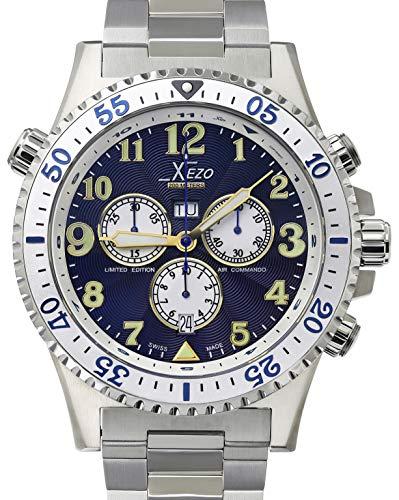 Xezo Air Commando Herren-Armbanduhr, Schweizer Quartz Piloten Taucher Chronograph Uhr, 20 ATM, 2 Zeitzon