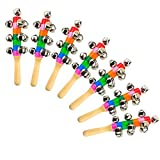 Heatoe 7PCS Colorful Handbell, Rainbow Handle Wooden Bells Jingle Stick Shaker Bells For Baby Kids Children Musical Toys
