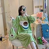 BLINGHG Hermoso camisón de Franela para Mujer Invierno Suelto Ocio Camisón para Mujer Ropa de Dormir Enviar la Misma Bolsa de Almacenamiento Diseño de Moda