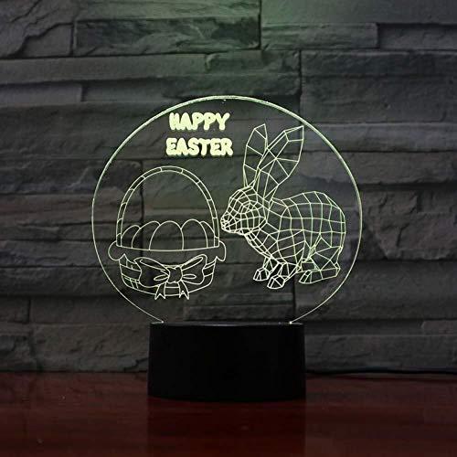 3D Illusion Pâques Lapin capteur tactile multi-couleur Chambre Bureau Acrylique Lampe de chevet décorative Kids Festival cadeaux d'anniversaire de charge USB lumière de nuit