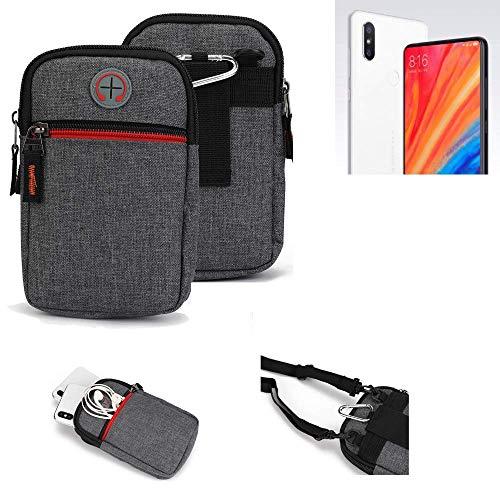 K-S-Trade® Gürtel-Tasche Für Xiaomi Mi Mix 2S Handy-Tasche Holster Schutz-hülle Grau Zusatzfächer 1x