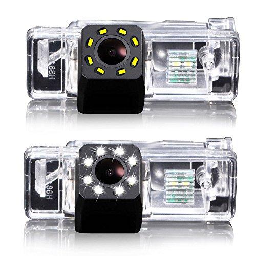 Dynavsal Aide au stationnement, caméra pour plaque d'immatriculation, éclairage de plaque d'immatriculation, caméra de recul couleur avec 8 LED pour Citroën C5 de 2010 à 2012/C4/C-Quatre