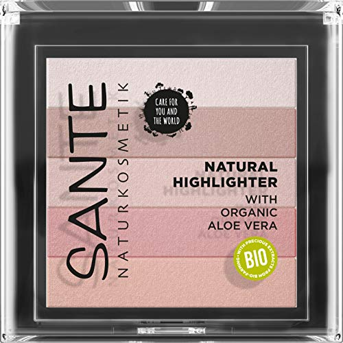 SANTE Naturkosmetik Natural Highlighter 02 Rose, Fünf Pudernuancen, Bio-Extrakte & Macadamiaöl, Natural Make-up, 7g