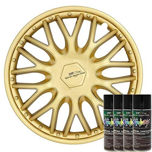 KandyDip® Sprühfolie True Aluminium Gold Flüssiggummi Felgenfolie Spraydosen Sets+2K, (1x Effekt, Satin)