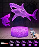 <span class='highlight'><span class='highlight'>QiLiTd</span></span> 3D Double Sharks Gifts Toys Decor LED Night Light with Remote Control, 16 RGB Colours Bedside Lamp, Smart Touch Adjust Brightness, Birthday Present Decoration for Baby Boy Girl Kids Women Men