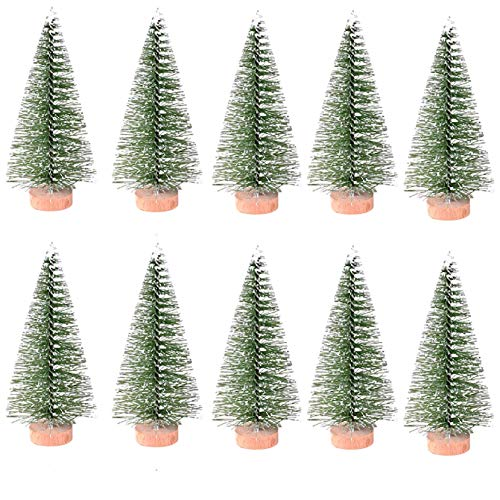 Mini Christmas Trees, 10Pcs Miniature Christmas Trees, Small Artificial Sisal Snow Frost Trees, Micro Scenery Landscape Architecture Trees for Christmas Crafts Tabletop Party Home Decoration (C)