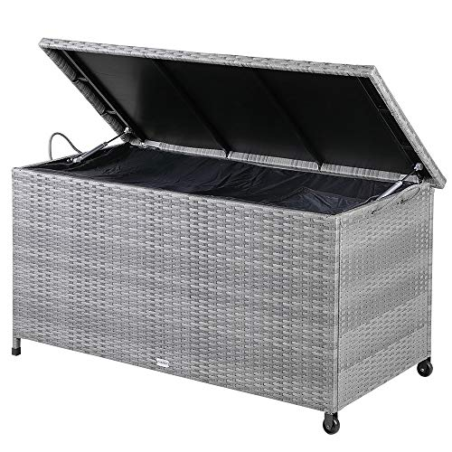 Casaria Auflagenbox 122x56x61 cm Poly Rattan Wasserdicht Rollbar 2 Gasdruckfedern Kissen Garten Box Truhe Grau