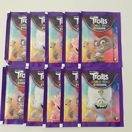 Gago Topps Trolls World Tour Sticker 10 Tüten / 40 Sticker + 10 Stickerkarten