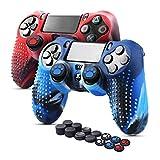 6amLifestyle PS4 Controller Skin (Rot + Blau, 2 Controller Skins + 14 Daumengriffe) Anti-Rutsch-Silikonhülle Schutzhülle für DualShock 4 PS4 / PS4 Slim / PS4 Pro Controller