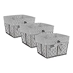 professional DII COMIN HKPR137416 Vintage Wire Chicken Storage Basket Detachable Fabric Cover, Set of 3 …
