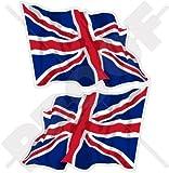 BRITISCHE UNION JACK Wehende Fahne Großbritannien UK 120mm Auto & Motorrad Aufkleber, x2 Vinyl Stickers
