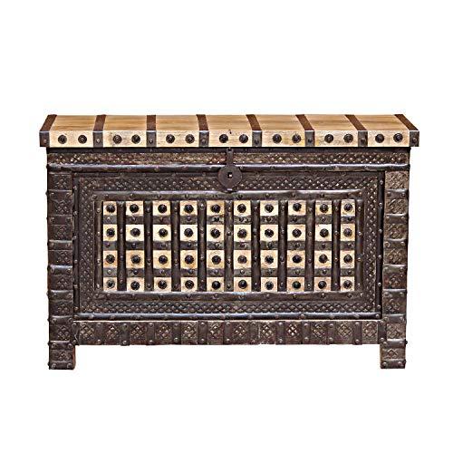 Casa Moro Schöne orientalische Truhe Hessa 120x40x77 (BxTxH) mit 3 Schubladen aus massiv Mangoholz mit Metallapplikationen verziert | Orient Holztruhe im Kolonialstil | CAC3602190 - 3