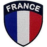 EmbTao Frankreich Schild Flagge Bestickter Aufnäher zum Aufbügeln/Annähen