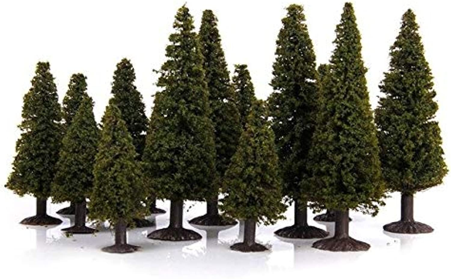 HOT 15 pcs Green Scenery Landscape Model Cedar Trees with PV Box 1 100 1 150 1 200   Green