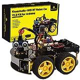KEYESTUDIO Kit de Coche Robot Inteligente Compatible con Arduino IDE con Módulo de Seguimiento de Línea, Sensor Ultrasónico, Módulo IR, Kit Robótico Educativo STEM2 para entusiastas de la programación