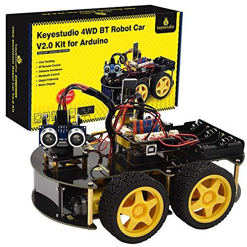 KEYESTUDIO Kit de Coche Robot Inteligente Compatible con Arduino IDE con Módulo de Seguimiento de Línea, Sensor Ultrasónico, Módulo IR, Kit Robótico Coche Educativo Stem para Niño, Adulto