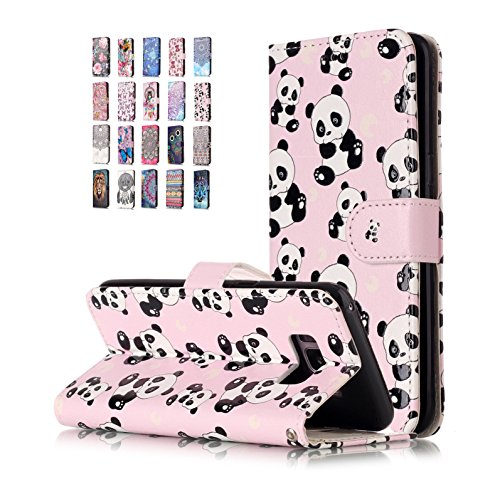 E-Flamingo Universecase Funda Compatible con Samsung Galaxy S8 Plus Cartera Panda Diseño Cuero con Iman Cierre Tarjetero Libro Shell Cover Inquebrantable para Mujer Chica
