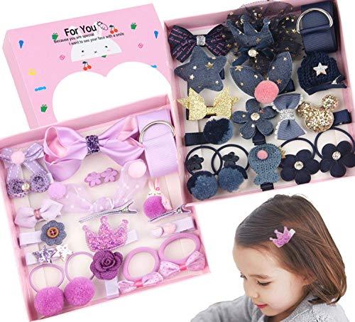 JZK Set Pinces à Cheveux Noeuds Petite Fille Barrettes de Cheveux Arcs élastiques à Cheveux avec Coffret Cadeau pour Noël Cadeau d'anniversaire pour Petite Fille de Bébé, Bleu Foncé et Violet