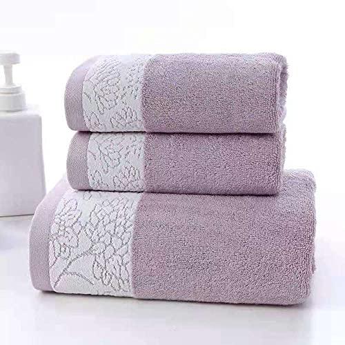 MQQM Contiene 2 Toallas de baño de,Toalla de Fibra Ultrafina, Toalla de baño doméstico de Tres Piezas-Púrpura_Toalla de baño 140 * 70 / Toalla 74 * 33,Toallas Premium 100% algodón