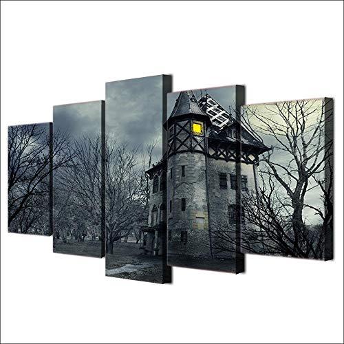 ZXYJJBCL Imagen De Arte De Pared De Casa Antigua En Lo Profundo del Bosque para Decoración del Hogar 5 Piezas Pinturas para Sala De Estar Dormitorio Decoración del Hogar
