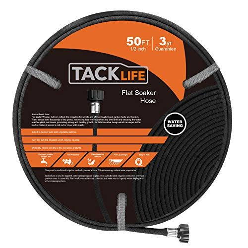 TACKLIFE 50FT Porous Soaker Hose, Soaker Hose with 1/2