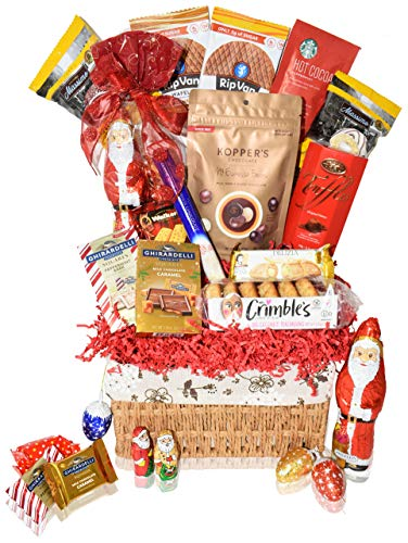 Christmas Baskets - Macaroons, Chocolate, Santa, Holiday - Premium Gift Baskets for Family, Friends, Colleagues, Office, Men, Women, Corporate, Him, Her