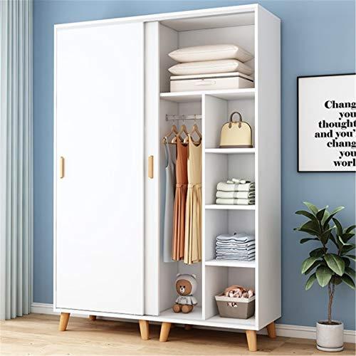 Armario para ropa, armario, dormitorio, moderno, minimalista, de almacenamiento, simple montaje, puerta corredera para colgar armario elegante decoración (color: blanco, tamaño: 190 x 50 x 140 cm)