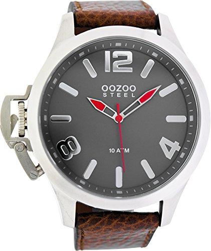 Oozoo Steel OS0333 XXL Herrenuhr silberfarben-grau