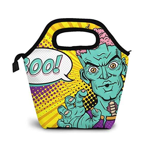 DJNGN ¡Zombie de dibujos animados con cerebros levanta las manos y abuchea! Fiambrera original Bolsa de almuerzo aislada - Fiambrera para adultos resistente y espaciosa para aprovechar su día