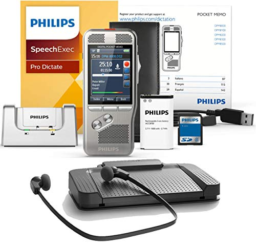 Philips DPM8000 Digital Portable Recorder with LFH7277 Transcription Kit Including SpeechExec Pro Dictate & Transcribe 2-Year Subscription