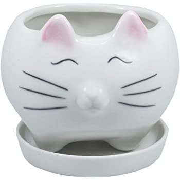Gemseek Cute Cat Succulent Planter Pot with Drainage Tray, White Ceramic Cactus/Flower Container, Animal Bonsai Holder for Indoor Plants