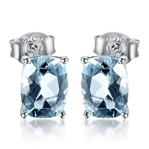 Hutang Jewelry Ohrstecker, 0,857 Karat, natürlicher Aquamarin, 6 x 4 mm, massives 925er Sterlingsilber, Edelstein, feiner Schmuck für Damen, Geschenk
