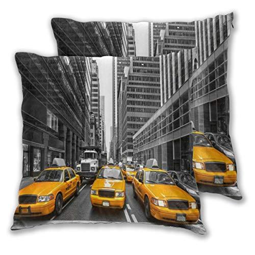 ELIENONO Juego de 2 Decorativo Funda de Cojín Yellow Taxi New York City Cab Edificio Highrise Creative City View Funda de Almohada Cuadrado para Sofá Cama Decoración para Hogar,55x55cm