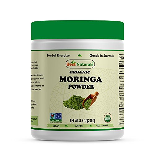 Best Naturals Certified Organic Moringa Powder 8.5 OZ (240 Gram), Non-GMO Project Verified & USDA Certified Organic