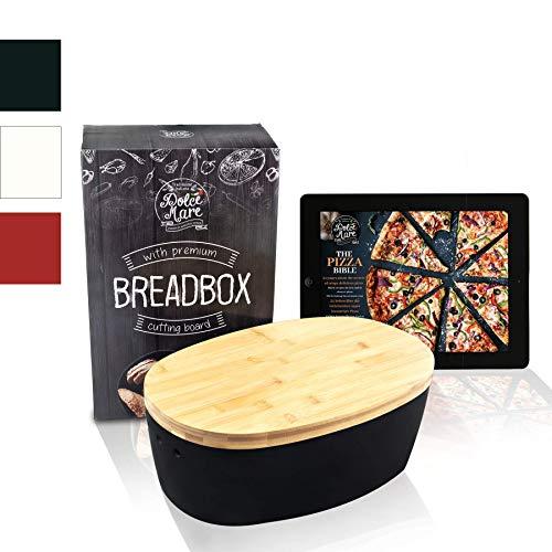 Dolce Mare® Panera - Caja para Pan de Madera - Paneras para Guardar el Pan - con Tabla de bambú Extremadamente práctica para Cortar - Cesto para Pan - Regalo Ideal (Blanco) (Negro)