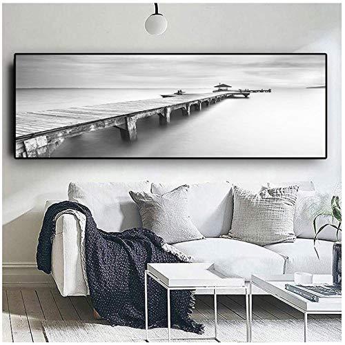 Ywsen Schwarz-Weiß-Brücke Landschaft Poster und Drucke Leinwand Gemälde Mediterran Wandkunst Bild für Wohnzimmer iterran kein Rahmen 50x175cm