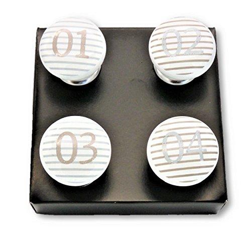 Geschenkestadl 4 x Möbelgriff mit Zahlen Porzellanknopf Möbelknopf Möbelknauf Porzellan Zahl Weiss gestreift