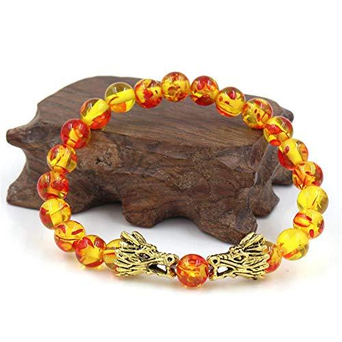 ASIG Natuurlijke Zwarte Lava & Witte Heren Sieraden Boeddha Draak Kraal Armband Voor Vrouwen