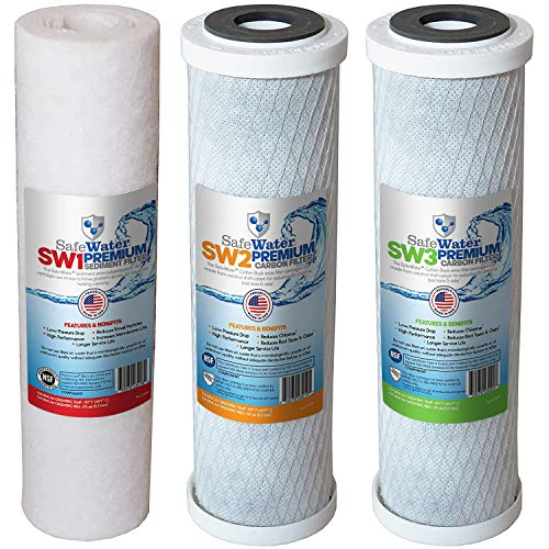 SafeWater Reverse Osmosis Water Filter Set USA MADE RO Filter Replacement for All Standard 3 Stage Systems - Easy to Install for Great Tasting Water - NSF Certified