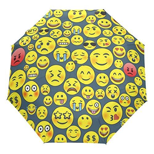 Niedlicher Schrei Emoji Auto Regenschirm Öffnen Schließen Winddichtes Reisen Lustige Emoticons Regenschirm Leichter kompakter Sonnenschirm Sonnenschirm & Regen