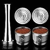 i Cafilas Capsule ricaricabili in acciaio INOX per Nespresso, Capsule riutilizzabili compatibili con Nespresso,2 Capsules + 1 Tamper+1 Cucchiaio +1 Spazzola