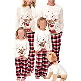 Family Christmas Pjs Matching Sets Deer Plaid Jammies for Baby Adults and Kids Holiday Xmas Sleepwear Set (Mom, M)