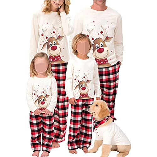 Family Christmas Pjs Matching Sets Deer Plaid Jammies for Baby Adults and Kids Holiday Xmas Sleepwear Set (Dad, 3XL)