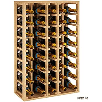ZonaWine - Botellero de Madera 5 Filas para 40 Botellas Magnum Vino o Cava es apilable y combinable, Mide 105 * 68 * 32 Fondo. Entrega montado - Pino Tintado en Roble: Amazon.es: Hogar