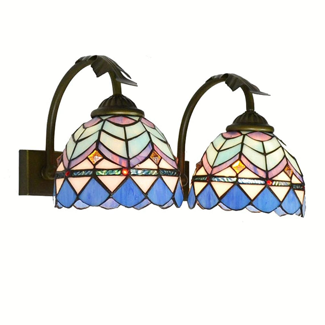 2 Heads Mediterranean-style Bathroom Wall Lamps Aegean Tiffany Bedroom Bedsides Wall Sconce Front Mirror Wall Lights