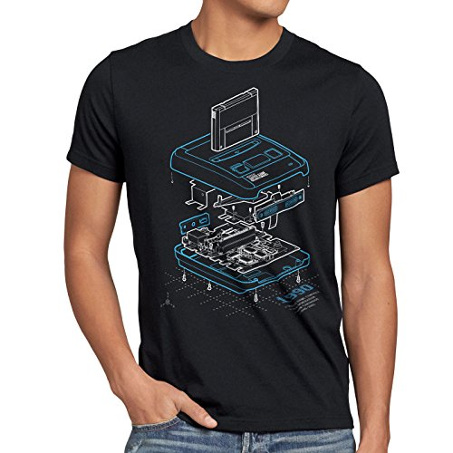 A.N.T. Snes Anno 1990 T-Shirt da Uomo Classic Gamer 16-Bit Retro Videogioco, Dimensione:L