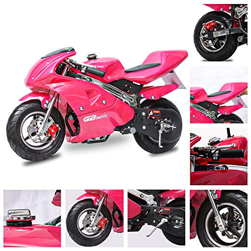 Fit Right 2020 Mini Gas Pocket Bike 02 On 40cc 4 Stroke, Support Up to 165 lbs, EPA Approved, Perfect Mini Pocket Bike for Kids (Pink)