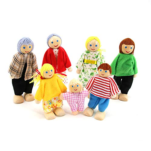 Wooden Dolls House Happy Family Dolls Figures Set of 7 People Dolls House...