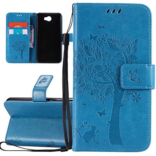 ISAKEN Hülle für Huawei Y5 II, PU Leder Brieftasche Geldbörse Wallet Hülle Ledertasche Handyhülle Tasche Schutzhülle Etui mit Handschlaufe Strap für Huawei Y5 II / Y6 II Compact - Baum Katze Blau
